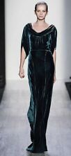 NWT $538 BCBG MAX AZRIA RUNWAY Dark Teal Cowl-Neck Velvet Long Dress Size 4