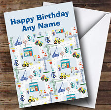 Children'S Construction Site Digger Personalised Birthday Greetings Card