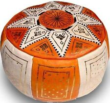 "16.5"" Moroccan FEZ Pouf leather Ottoman Footstool  Pouffe Hassock New   Pouff"