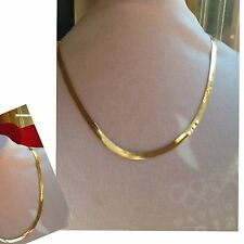 COLLIER CHAINE  FEMME MAILLE SERPENT ANGLAISE PLATE EN PLAQUÉ OR