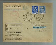 1946 Pornichet France Commercial Cover to Bucarest Romania New Years Day Cancel