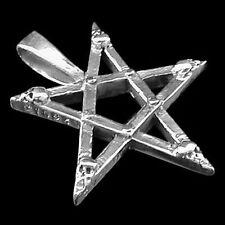 Silber Anhänger - Skull Pentagram - 925er Sterling Silber