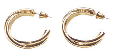 Vintage & Timeless Golden Braided /quarter Open Metal Hoop Earrings(Zx224)
