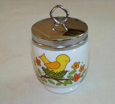 Porcelain EGG CODDLER - Lorrie - YELLOW BIRD on NEST *Double egg*