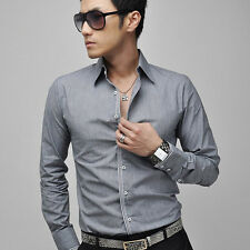 New Men's Fashion Luxury Casual Slim Fit Stylish Dress Shirts Long Sleeves E67S