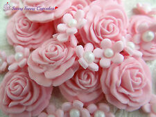 24 Pink roses and flowers edible cupcake decorations cake toppers cake sprinkles