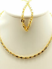 18k Solid Yellow Gold Sparkle Italian Diamond Cut Necklace/Chain 7.32 Grams