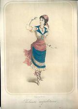 1870 ca COSTUMI NAPOLI pescatrice napoletana Campania litografia a colori