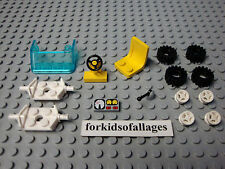 Lego Car Parts Lot 2: Yellow Chair Seat, Steering Wheel, Windshield Tires Axles+