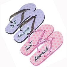 2 x Pairs Gift Set His & Hers Wedding Honeymoon Beach Just Married Flip Flops