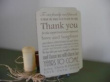 Personalised Wooden Shabby Wedding Thank You Handmade Sign Plaque Easel Vintage
