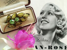Unusual Vintage Art Deco 30s 40s Striped Czech Glass Gold Tone Leaf Brooch. Gift