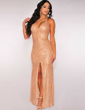 New elegant golden sequin evening prom cocktail long dress Size M 10