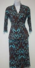 OLIAN MATERNITY WRAP BLOUSE & PENCIL SKIRT TURQUOISE BROWN DAMASK PRINT SUIT XS