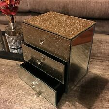 3 drawer golden glitter mirrored jewellery box trinket makeup jewellery box new
