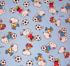 HTF UFS BLUE PEANUTS SNOOPY PLAYING SOCCER OLYMPIC COTTON FABRIC 1/2 YARD