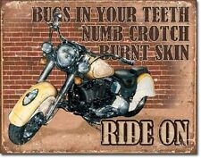 Ride On Bugs Teeth Motorcycle Bike Distressed Retro Vintage Decor Metal Tin Sign