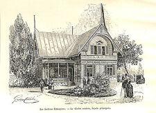 PARIS EXPOSITION UNIVERSELLE WORLD FAIR 1889 CHALET SUEDE SWEDEN GRAVURE