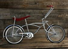Lovely Low Rider Chrome Bike w Red Velvet Seat & 140 Spoke Wheels