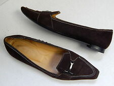 Tod's Brown Suede Pointy Pumps Flats Italy 37 US sz 6.5 M