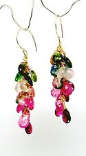 14K  Gold Yummy Candy Tourmaline Briolette Chandelier  Earrings