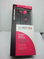 Monster Clarity HD High Definition In Ear Headphones Black and Neon Pink
