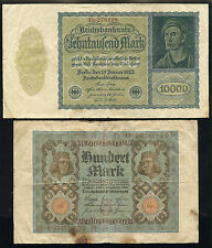 GERMANY 1920, 1922 REICHSBANKNOTEN: 100M, 10000M