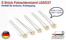 5x GL5537 LDR Fotowiderstand Phototransistor  für Arduino Prototyping