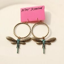 New Betsey Johnson Dragonfly Drop Dangle Earrings Lady's Jewelry Gift Rhinestone