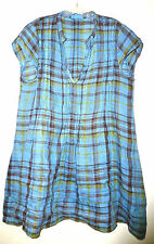 CP SHADES CAP SLEEVE REGINA LINEN BLUE YELLOW PLAID DRESS TUNIC TOP SHIRT S