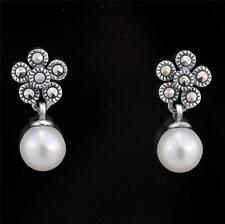 ART DECO STERLING SILVER FAUX PEARL AND MARCASITE DROP EARRINGS