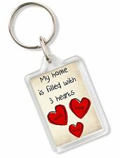 My Home Is Filled With 2/3/4 or 5 Hearts Personalised Keyring Luggage Bag Gift