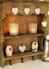 SMALL SHABBY CHIC WALL SHELF STORAGE DISPLAY CABINET HOOKS RUSTIC WALL UNIT