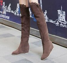 Womens Faux Suede Over Knee Thigh Boots Lace Knight Shoes Hidden Wedges Bootie