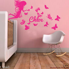 Personalised NAME & FAIRY; BUTTERFLIES Kids Removable Wall Decal for Girls Room