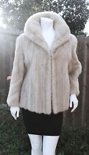 Genuine Tourmaline Beige Mink Fur Jacket Coat Stroller Size M