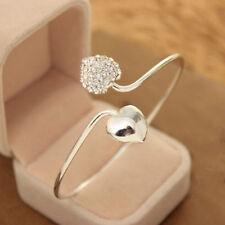 Damen Arbeiten Kristall Liebes-Herz Silber überzogene Armband Schmu Bracelet