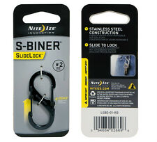 "Nite Ize S-Biner Black Stainless Steel with Slide Lock Size #2 (2""), Carabiner"
