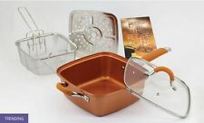 As Seen on TV Square Copper Pan Pro 5 pc Deep 9.5 inch Kitchen Cookware Set