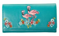 Elegant Floral Flamingo Wallet by Banned Purse Notecase Rockabilly 50s TEAL BLUE