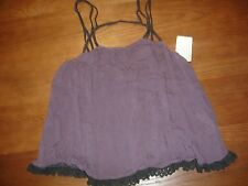 NEW FREE PEOPLE INTIMATELY PURPLE LACE EDGE STRAPPY CAMI FESTIVAL TANK TOP - XS