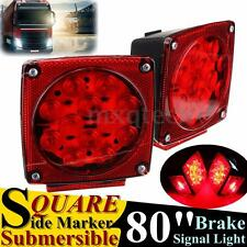 Pair LED Tail Brake Light Side Marker Boat Truck Trailer Submersible Under 80""