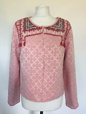 Pretty MANGO Pink Sequined Tassel Textured Quilted Blazer Jacket, Size Large