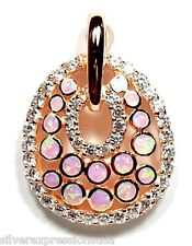 18K Rose Gold Plated 925 Sterling Silver Pink Fire Opal & Topaz Inlay Pendant
