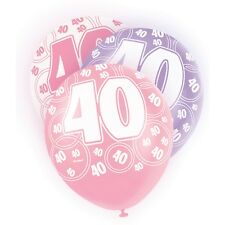 "6 Pink Sparkle Happy 40th Birthday 12"" Pearlized Printed Latex Balloons"