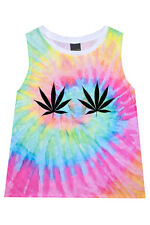 WEED CANNABIS TIE DYE T SHIRT TOP TEE WOMENS DRUGS HIGH VTG FUN TUMBLR GRUNGE