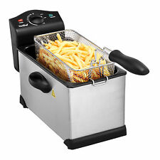 VonShef Fat Fryer Deep 3 Litre Chip Pan Basket Fry Stainless Steel 2000W Pro