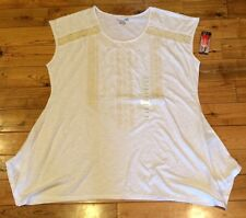 NWT Womens RXB White Cream Lace Embroidered Tunic Blouse Top Size M-Medium $58