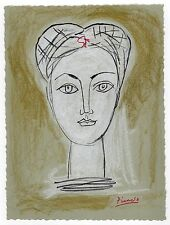 """Pablo Picasso - Color Drawing """"PORTRAIT OF A WOMAN"""" Registered"""