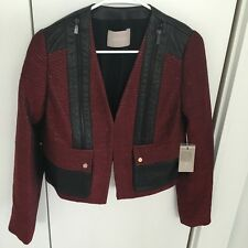 Jason Wu Jacket $2775 Cropped Leather Trimmed Blazer in Maroon NWT Red Size 8